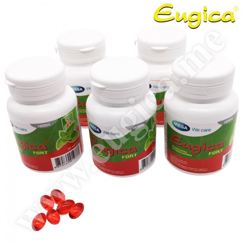 Акция! Капсулы Eugica Fort усиленного действия с маслами для горла взрослым, 5 по 20 штук